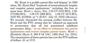 Modified Opinion for Hyatt on Purposeful Submarining