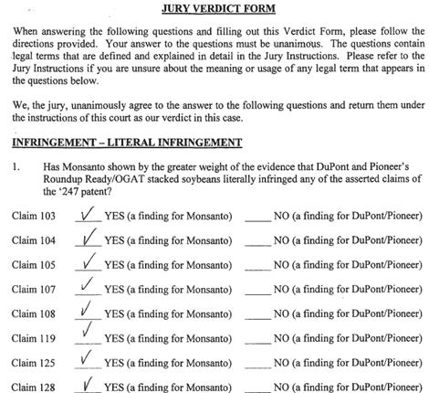 Monsanto Jury Verdict Form   Patently-O